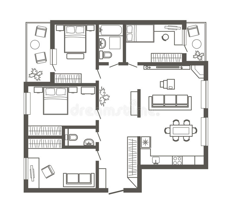 Download Linear Architectural Sketch Plan Four Bedroom Apartment Stock Vector