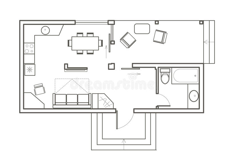Linear architectural sketch plan studio house stock vector for House sketch plan