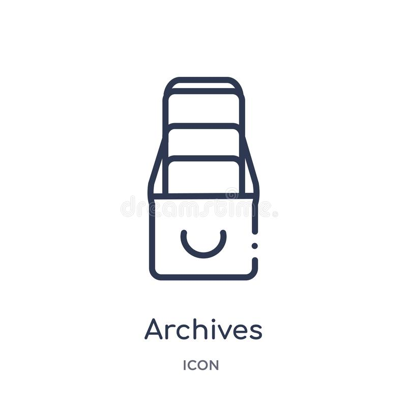 Linear archives icon from Education outline collection. Thin line archives vector isolated on white background. archives trendy. Illustration vector illustration