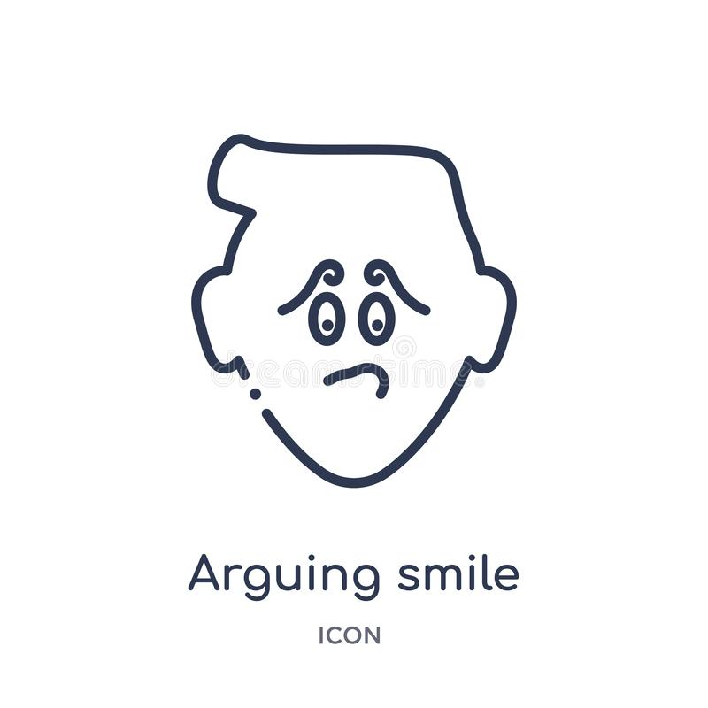 Linear arguing smile icon from Emoji outline collection. Thin line arguing smile vector isolated on white background. arguing stock illustration