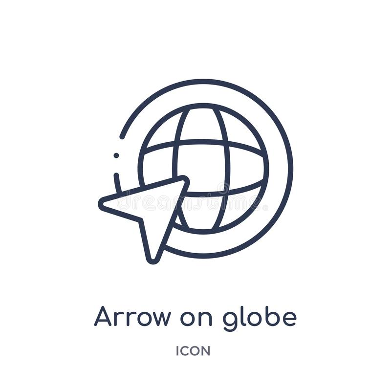 Linear arrow on globe icon from Maps and Flags outline collection. Thin line arrow on globe icon isolated on white background. royalty free illustration