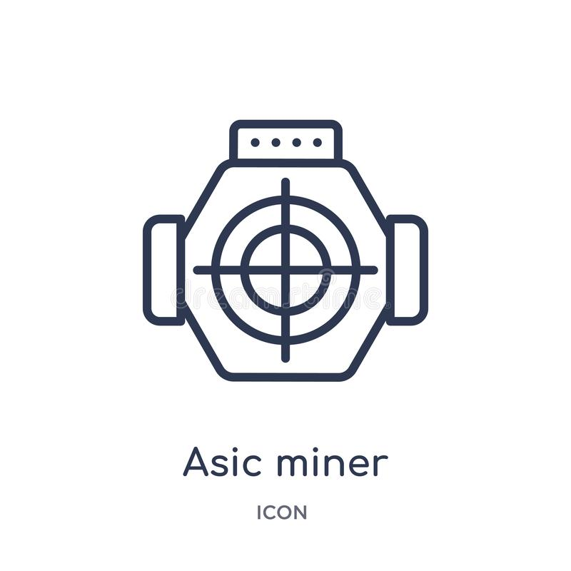 Linear asic miner icon from Electronic devices outline collection. Thin line asic miner vector isolated on white background. asic royalty free illustration