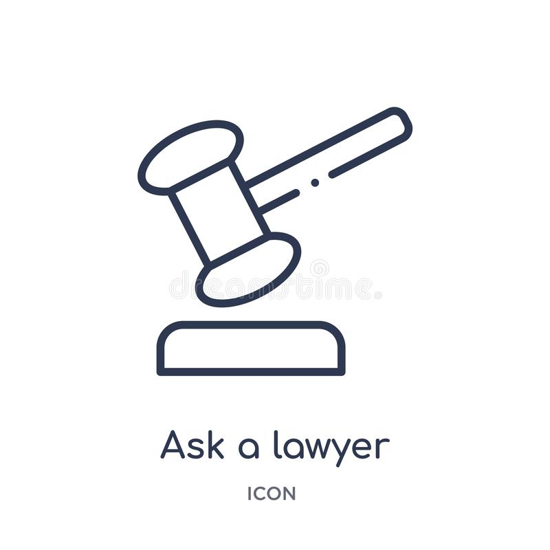 Linear ask a lawyer icon from Law and justice outline collection. Thin line ask a lawyer icon isolated on white background. ask a royalty free illustration