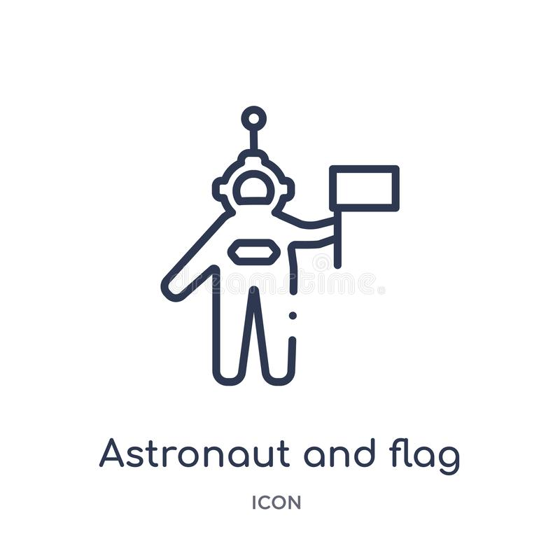 Linear astronaut and flag icon from Astronomy outline collection. Thin line astronaut and flag vector isolated on white background royalty free illustration