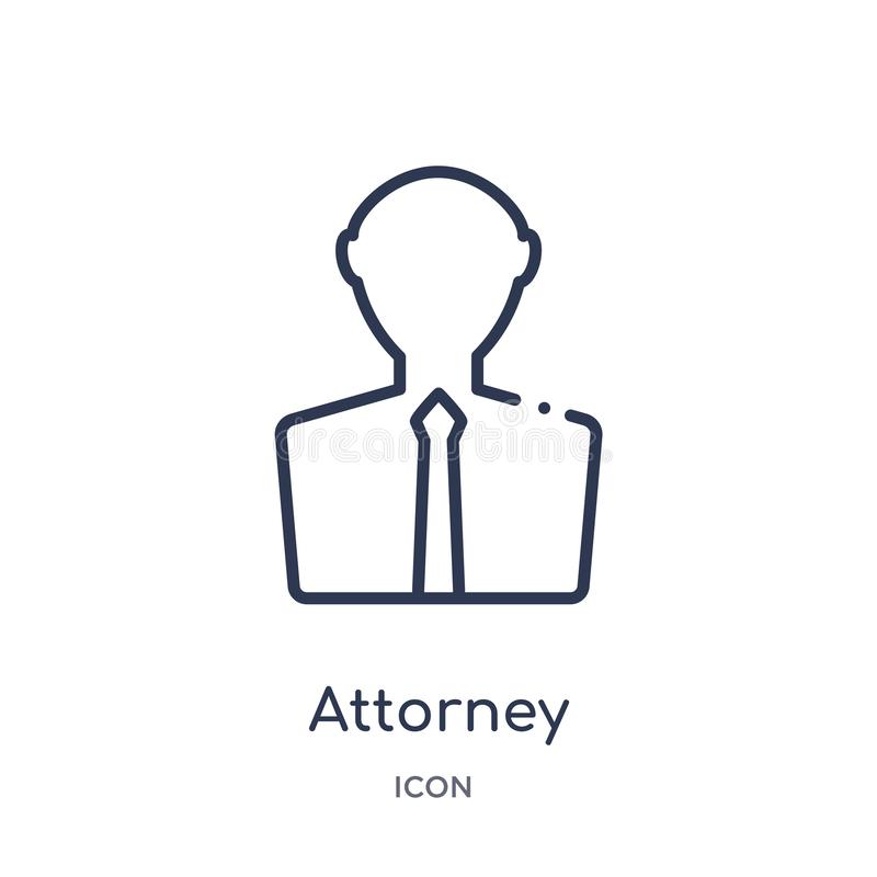 Linear attorney icon from Law and justice outline collection. Thin line attorney icon isolated on white background. attorney vector illustration