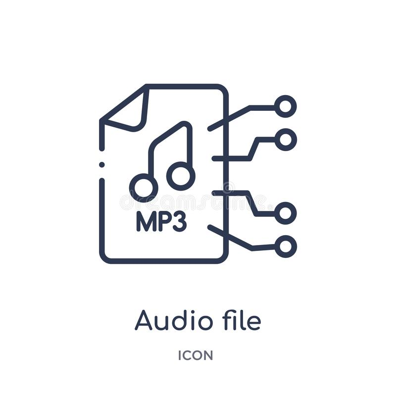Linear audio file icon from Future technology outline collection. Thin line audio file icon isolated on white background. audio royalty free illustration