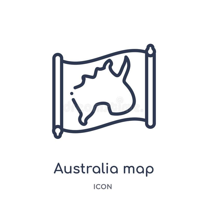 Linear australia map icon from Countrymaps outline collection. Thin line australia map vector isolated on white background. stock illustration
