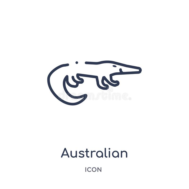 Linear australian alligator icon from Culture outline collection. Thin line australian alligator vector isolated on white stock illustration