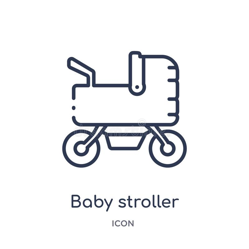 Linear baby stroller icon from Kids and baby outline collection. Thin line baby stroller icon isolated on white background. baby royalty free illustration