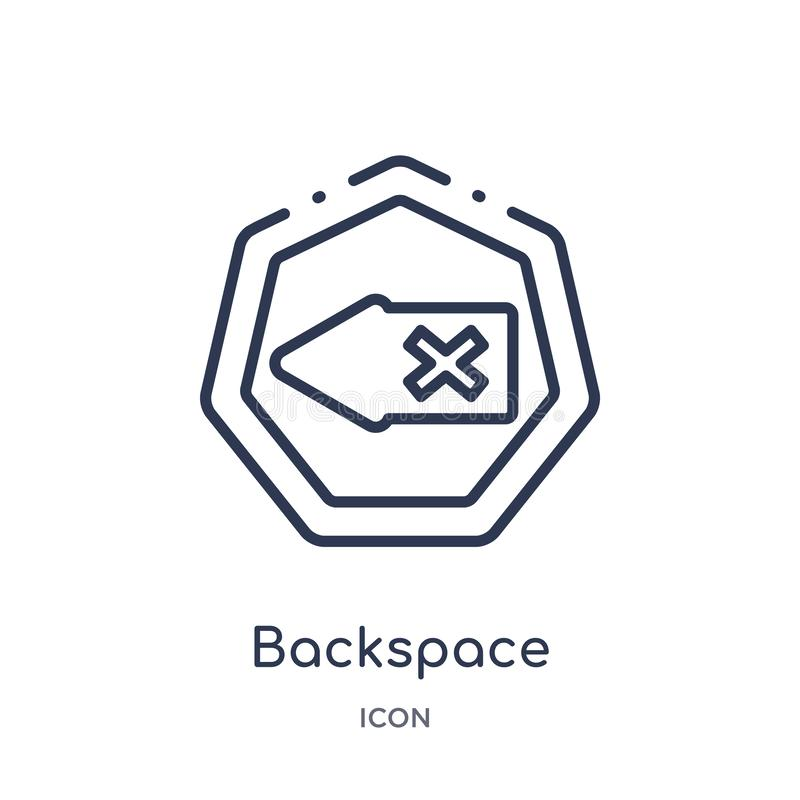 Linear backspace icon from Arrows outline collection. Thin line backspace vector isolated on white background. backspace trendy royalty free illustration