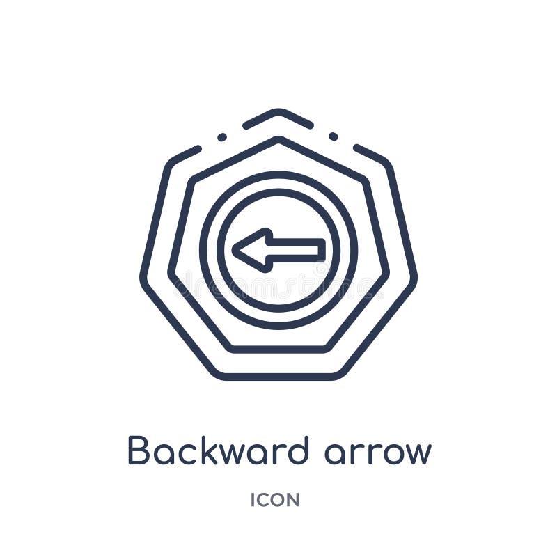 Linear backward arrow icon from Arrows outline collection. Thin line backward arrow vector isolated on white background. backward stock illustration