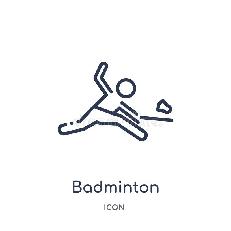 Linear badminton icon from Free time outline collection. Thin line badminton vector isolated on white background. badminton trendy royalty free illustration