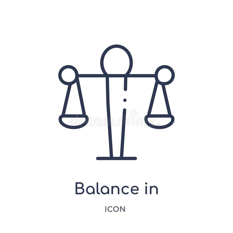 Linear balance in human resources icon from Human resources outline collection. Thin line balance in human resources icon isolated stock illustration