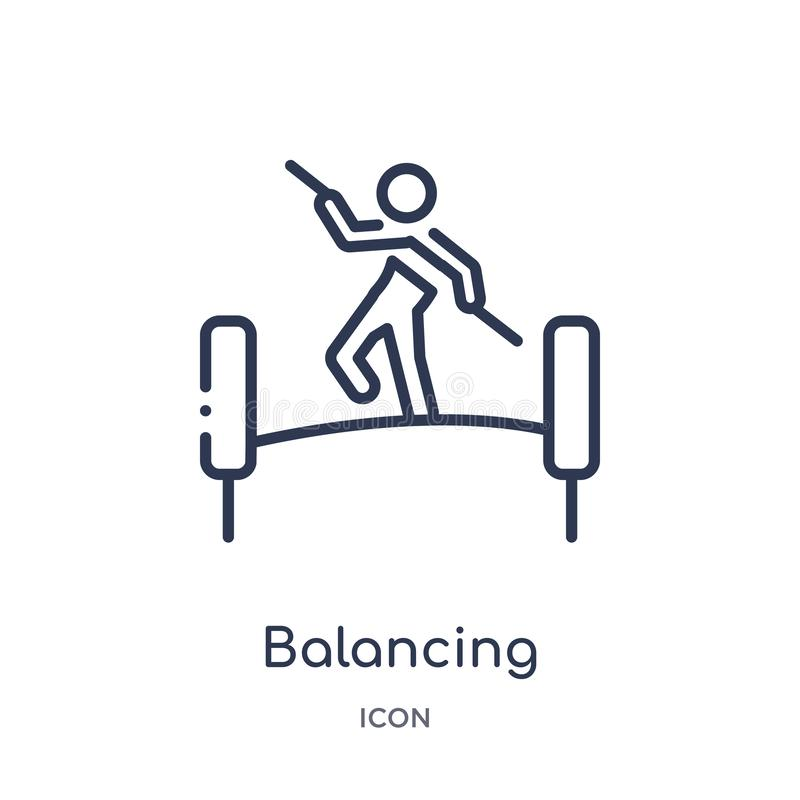 Linear balancing icon from Activity and hobbies outline collection. Thin line balancing vector isolated on white background. vector illustration