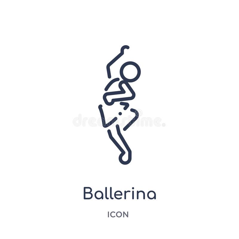 Linear ballerina icon from Activity and hobbies outline collection. Thin line ballerina vector isolated on white background. stock illustration