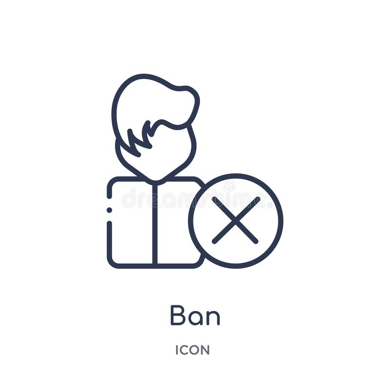 Linear ban icon from Internet security outline collection. Thin line ban icon isolated on white background. ban trendy royalty free illustration