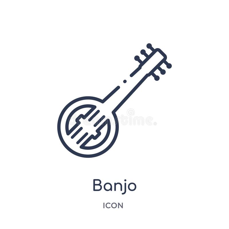 Linear banjo icon from Africa outline collection. Thin line banjo vector isolated on white background. banjo trendy illustration vector illustration