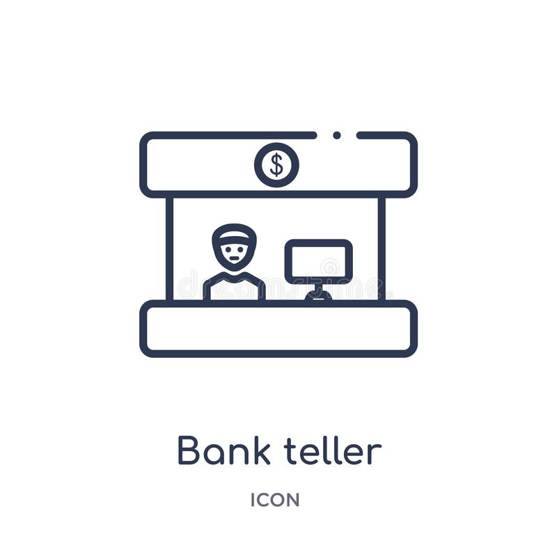 Linear bank teller icon from Business outline collection. Thin line bank teller icon isolated on white background. bank teller. Trendy illustration royalty free illustration