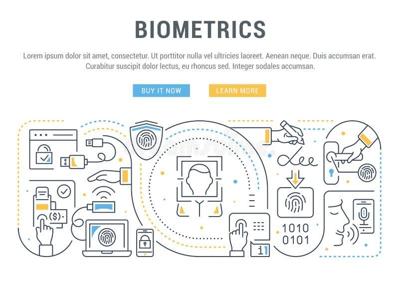 Linear Banner of Biometrics. Line banner of biometrics. Vector illustration of the biometric technology stock illustration