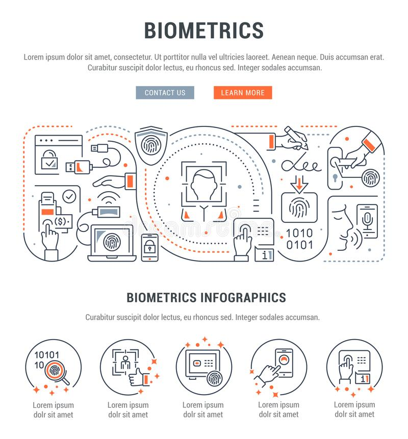 Linear Banner of Biometrics. Line banner of biometrics. Vector illustration of the biometric technology vector illustration