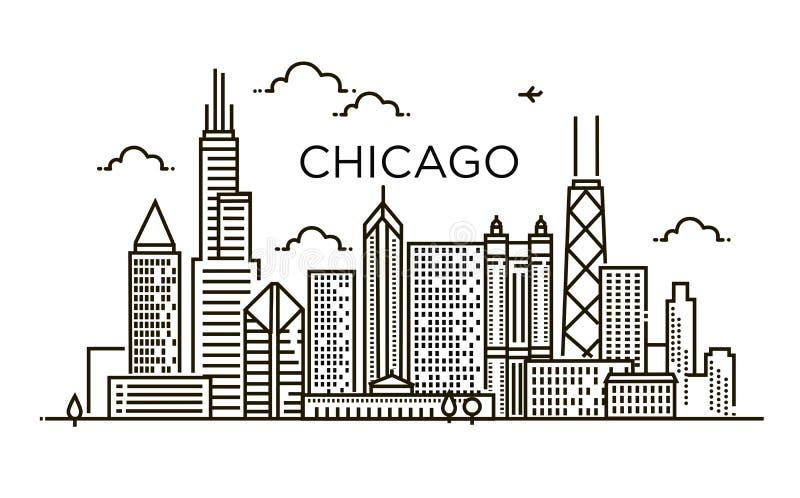 Linear banner of Chicago city. Line art. vector illustration