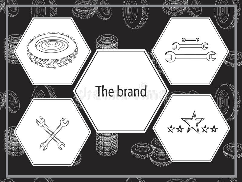 A banner with wheels, wrenches and rhombi for a company of 5 stars tire fitting. Linear banner with geometric stylish shapes. Brutal vector illustration for car royalty free stock image