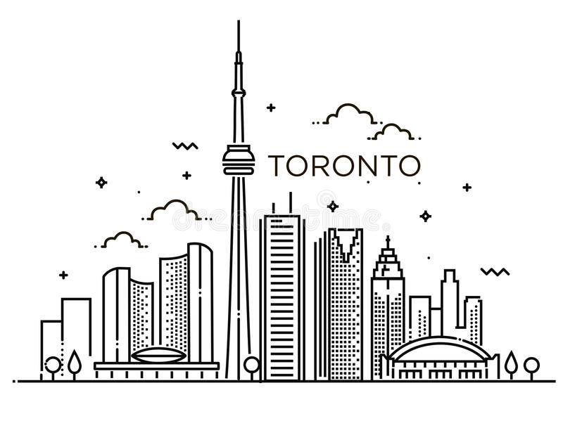Linear banner of Toronto. Line art. royalty free illustration