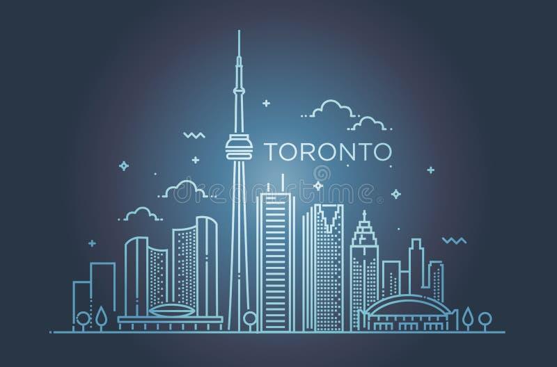 Linear banner of Toronto. Line art. Minimal Toronto City Linear Skyline. Thin style stock illustration