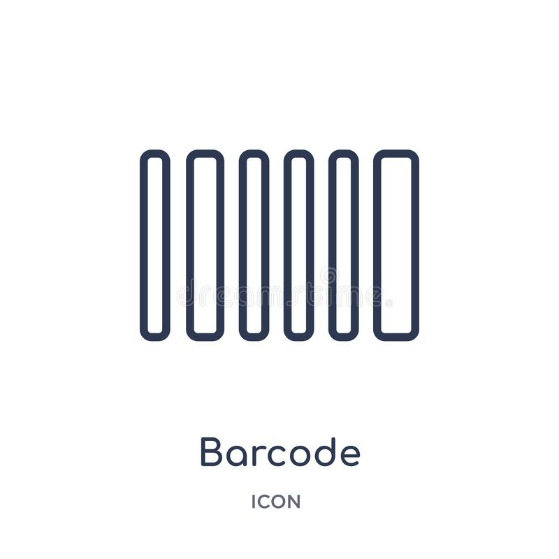 Linear barcode icon from Delivery and logistic outline collection. Thin line barcode vector isolated on white background. barcode royalty free illustration