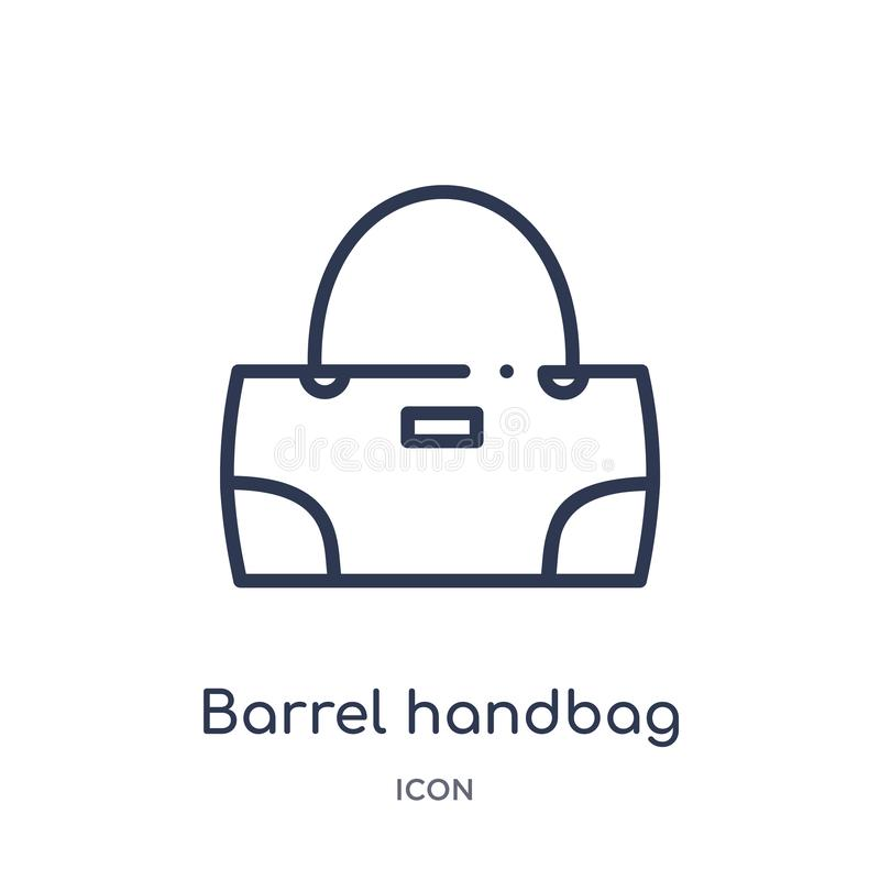Linear barrel handbag icon from Clothes outline collection. Thin line barrel handbag vector isolated on white background. barrel vector illustration