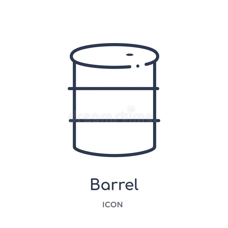 Linear barrel icon from Industry outline collection. Thin line barrel icon isolated on white background. barrel trendy stock illustration