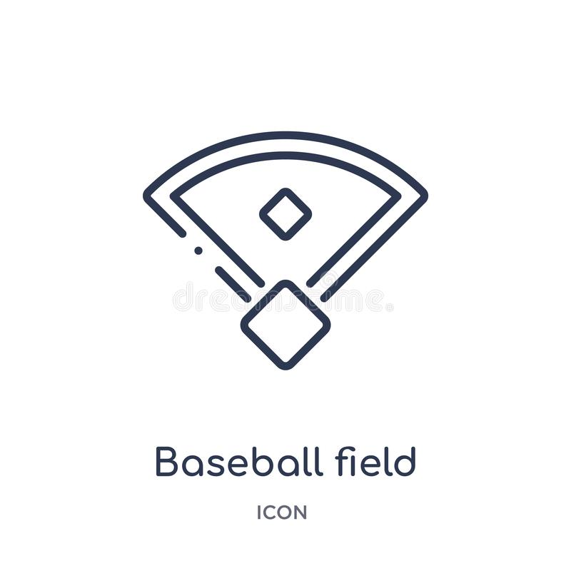 Linear baseball field icon from Free time outline collection. Thin line baseball field vector isolated on white background. royalty free illustration