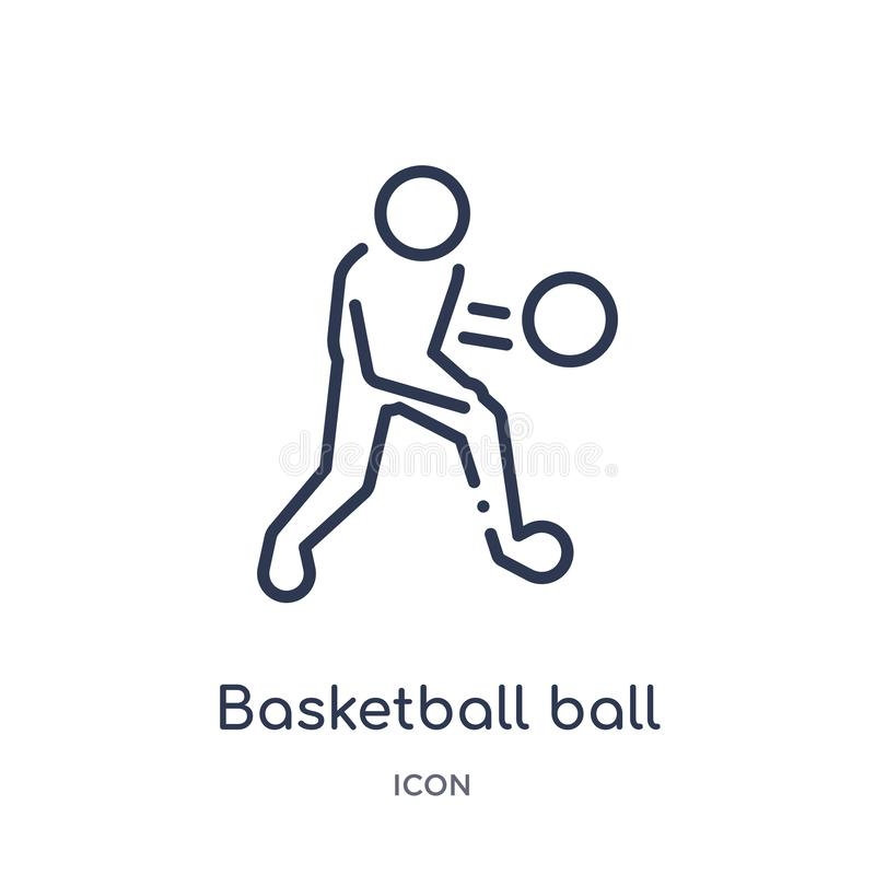 Linear basketball ball icon from Hobbies and free time outline collection. Thin line basketball ball icon isolated on white vector illustration