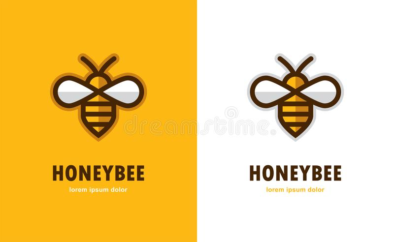 Linear bee icon. Linear bee icon on orange and white background. Honey logo stock illustration
