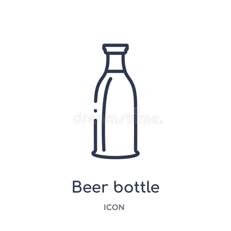 Linear beer bottle icon from Alcohol outline collection. Thin line beer bottle vector isolated on white background. beer bottle stock illustration