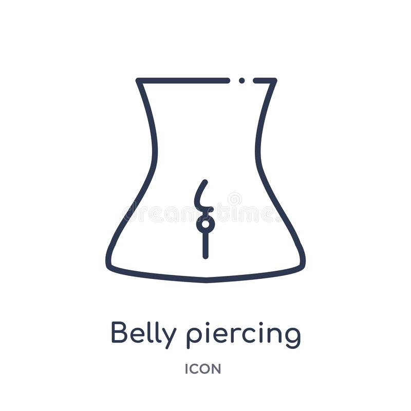 Linear belly piercing icon from Jewelry outline collection. Thin line belly piercing icon isolated on white background. belly. Piercing trendy illustration stock illustration