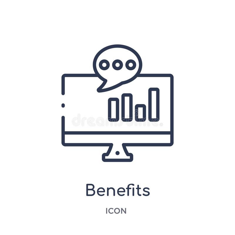 Linear benefits icon from Marketing outline collection. Thin line benefits icon isolated on white background. benefits trendy vector illustration