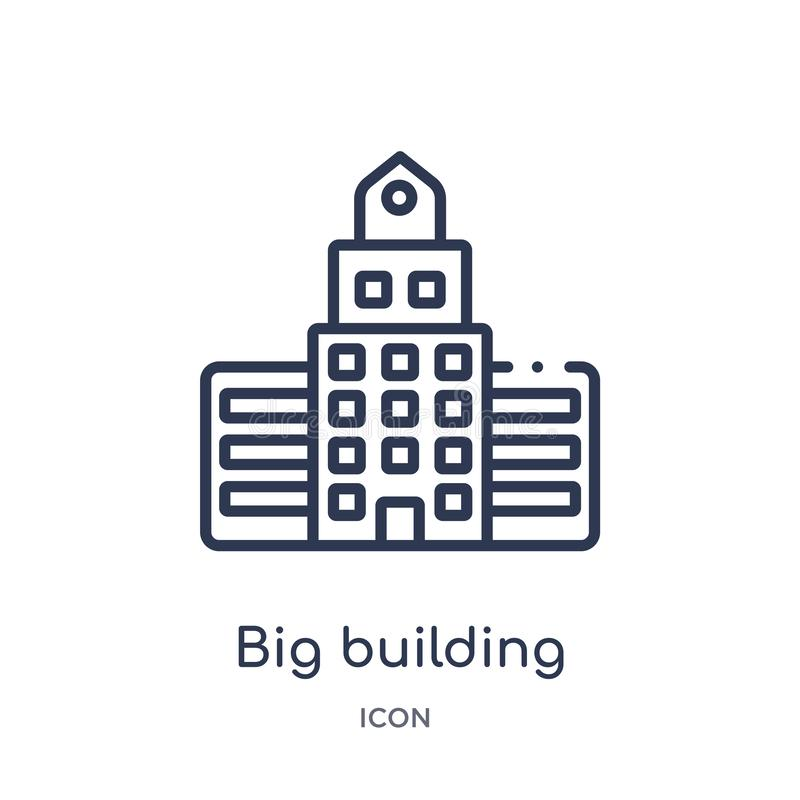 Linear big building icon from Construction outline collection. Thin line big building vector isolated on white background. big royalty free illustration
