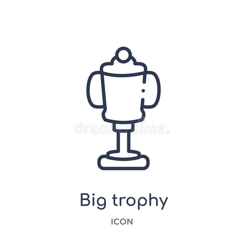 Linear big trophy icon from Education outline collection. Thin line big trophy vector isolated on white background. big trophy royalty free illustration