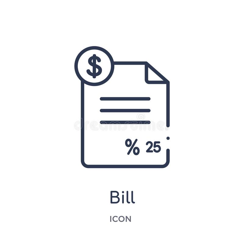 Linear bill icon from Digital economy outline collection. Thin line bill vector isolated on white background. bill trendy vector illustration