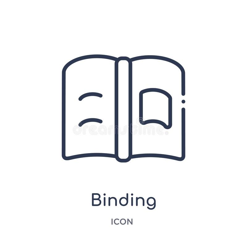 Linear binding icon from Education outline collection. Thin line binding icon isolated on white background. binding trendy. Illustration vector illustration