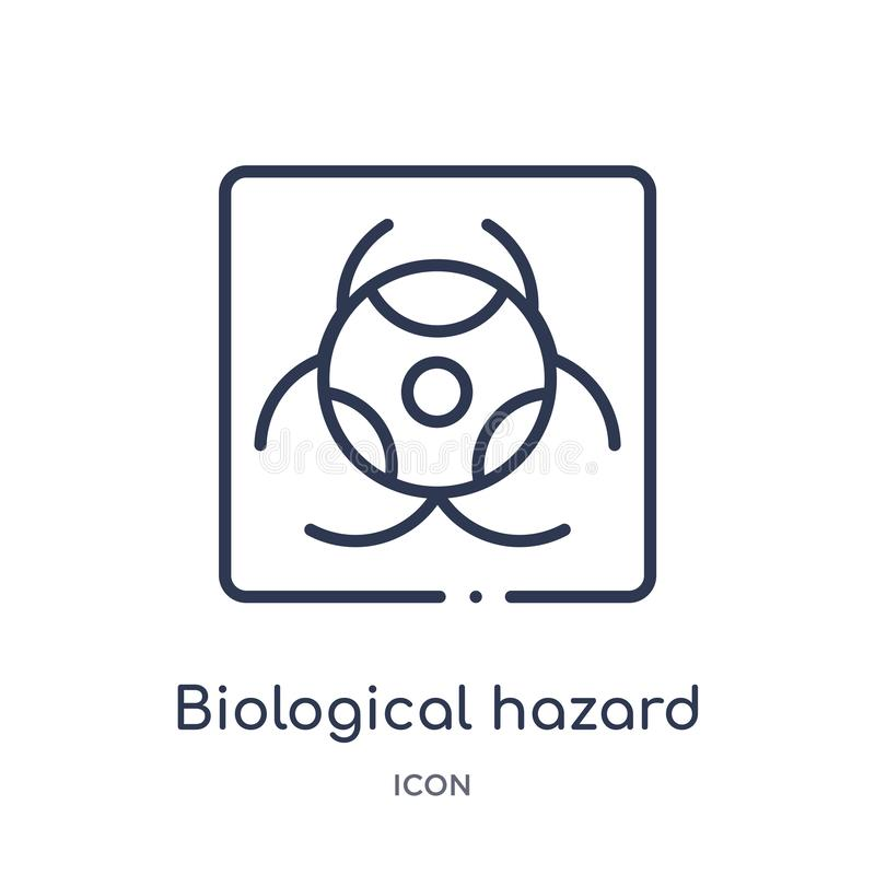 Linear biological hazard icon from Alert outline collection. Thin line biological hazard vector isolated on white background. royalty free illustration