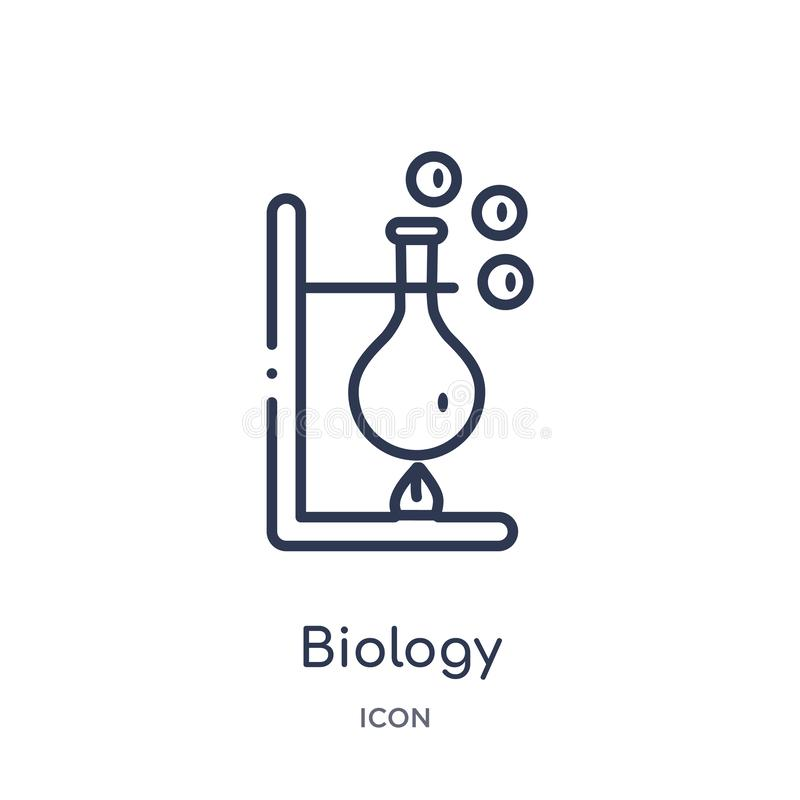 Linear biology icon from Chemistry outline collection. Thin line biology vector isolated on white background. biology trendy royalty free illustration