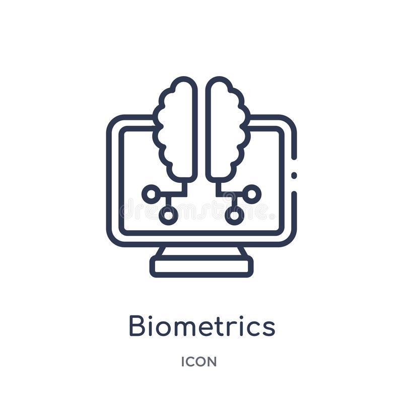 Linear biometrics icon from Artificial intellegence and future technology outline collection. Thin line biometrics vector isolated. On white background stock illustration