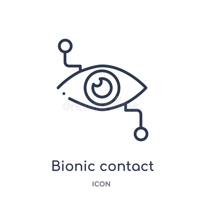 Linear bionic contact lens icon from Crowdfunding outline collection. Thin line bionic contact lens vector isolated on white royalty free illustration