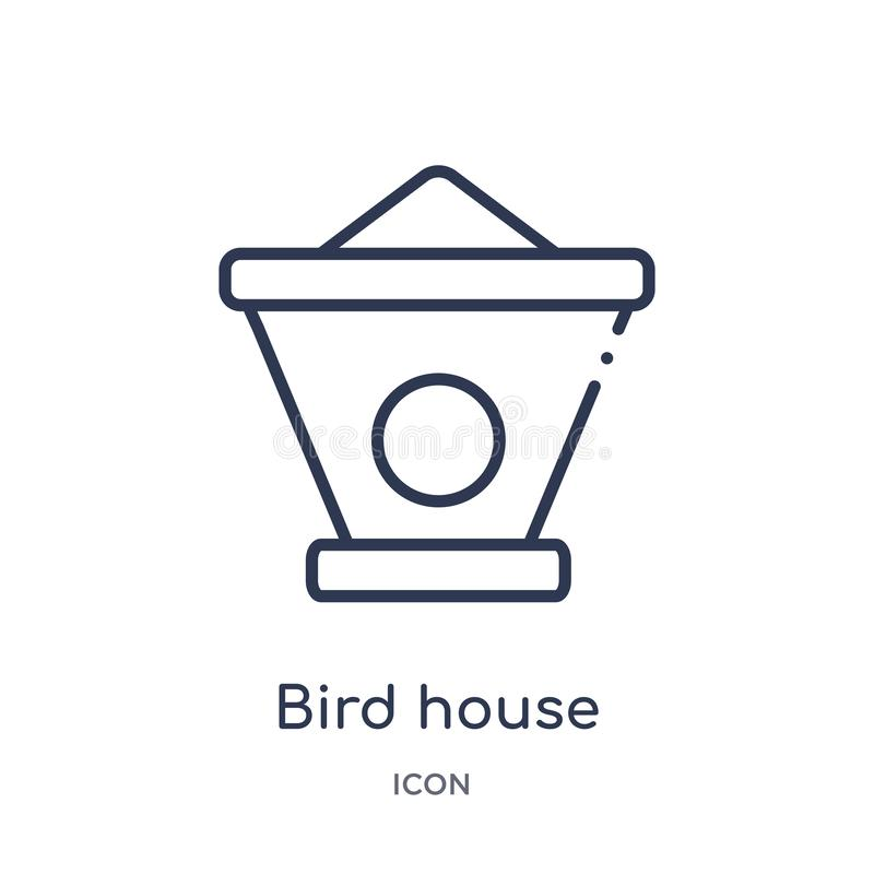 Linear bird house icon from Agriculture farming and gardening outline collection. Thin line bird house vector isolated on white stock illustration
