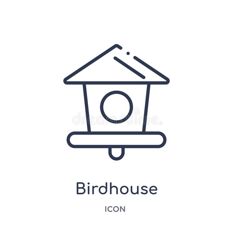 Linear birdhouse icon from Agriculture farming and gardening outline collection. Thin line birdhouse vector isolated on white vector illustration