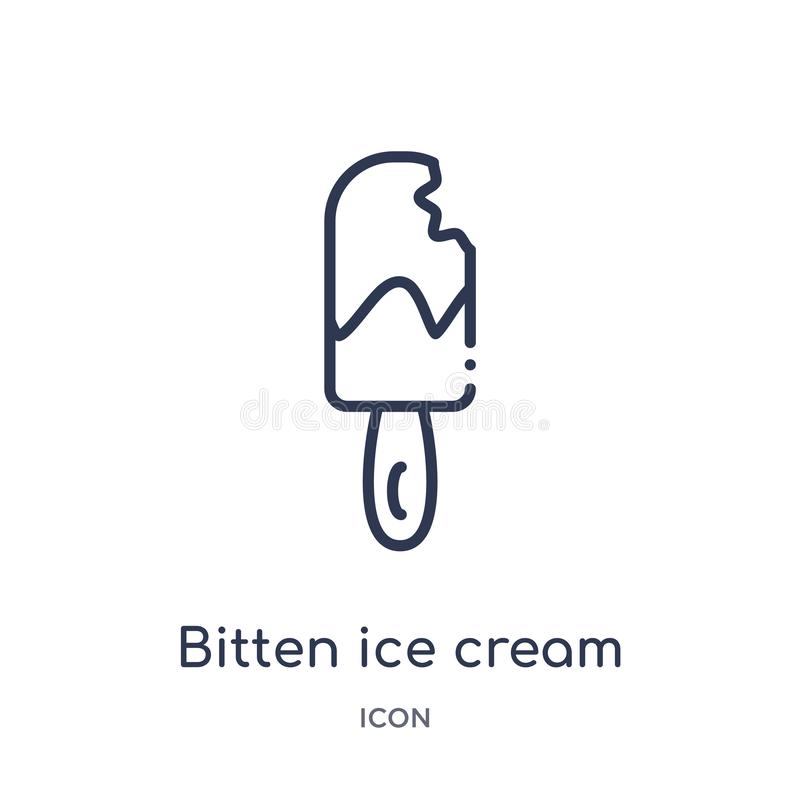 Linear bitten ice cream icon from Food outline collection. Thin line bitten ice cream icon isolated on white background. bitten vector illustration