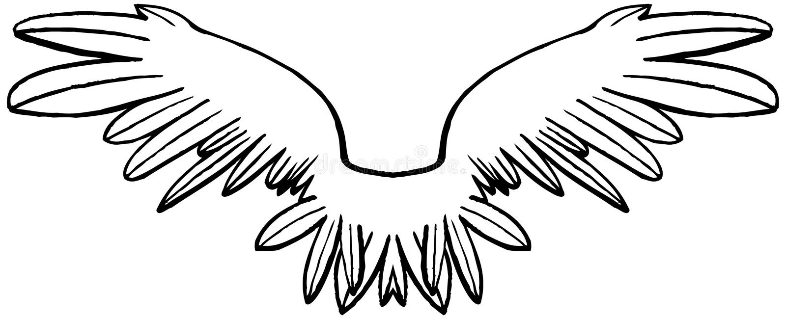 Linear black and white symmetrical wings. royalty free illustration