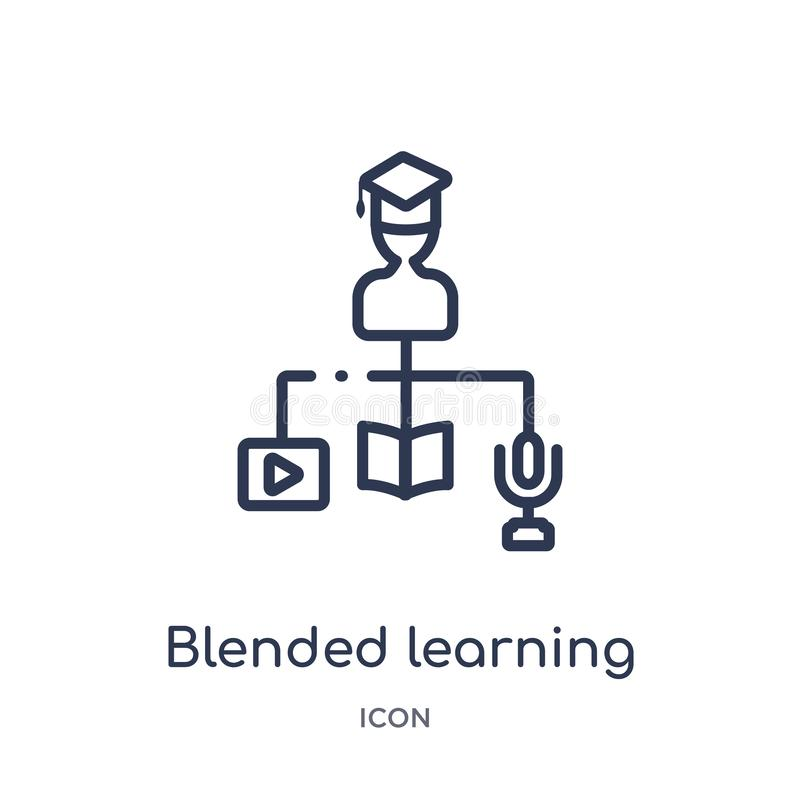 Linear blended learning icon from Elearning and education outline collection. Thin line blended learning vector isolated on white stock illustration